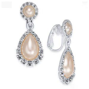 Charter Club Crystal Pink Pearl Clip-On Earrings